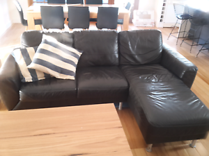 3 seater Freedom brown leather lounge with chaise Maryville Newcastle Area Preview