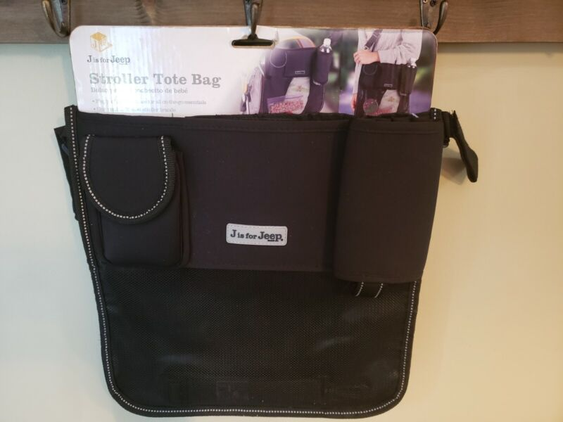 J is for Jeep Stroller Black Tote Bag Storage Organizer for Baby Strollers-New!