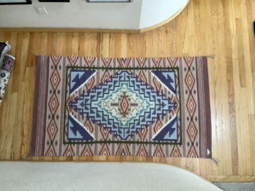 "Jeannie Slick Beautiful Burntwater Navajo Rug 36"" x 62"" Great Colors EUC"