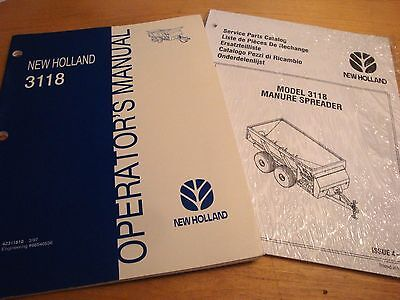 New Holland 3118 Manure Spreader Operators And Parts Catalog Manual Nh