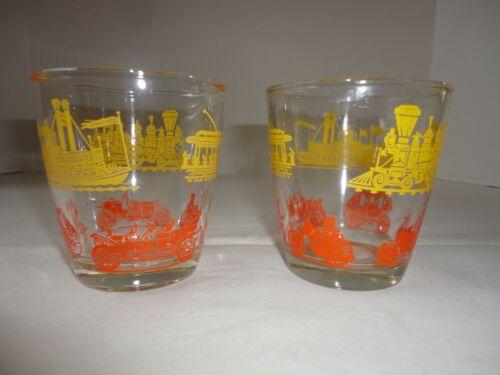 Sour Cream Glasses 2 Vintage Hazel Atlas Transportation Stagecoach Cars Boat