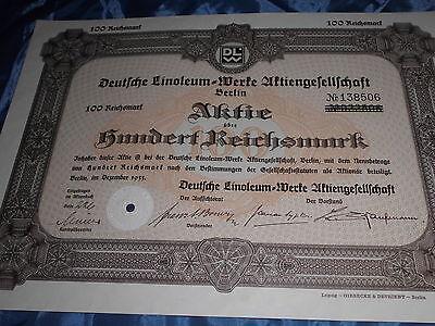 864 : dt. Aktie / Wertpapier , Dezember 1933 , Deutsche Linoleum Werke , Berlin