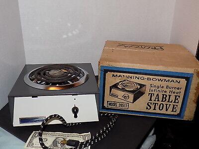 Vintage Portable Electric Stove Enamel Chrome Camping Manning Bowman 39517