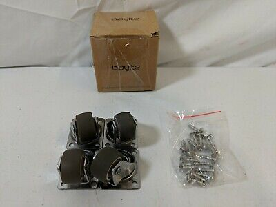 Bayite 4 Pack 1 Low Profile Caster Wheels Soft Rubber Swivel Caster - Open Box