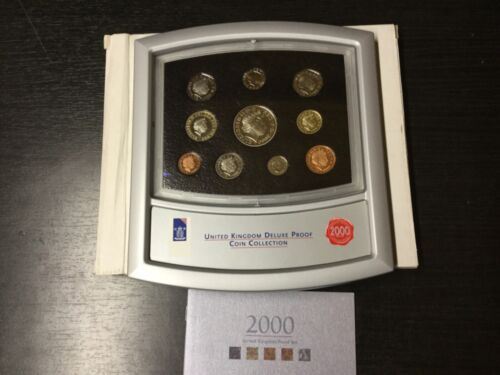 2000 UNITED KINGDOM DELUXE PROOF COIN COLLECTION 10 COINS