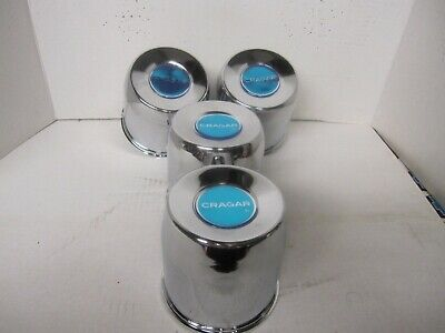 4  CHROME STEEL CENTER CAPS 6  LUG CARGO CRAGAR WHEELS W/ BLUE