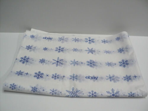 """NEW 27 Sheets of ebay Branded Tissue Paper Blue Snowflakes Holiday 20"""" x 30"""""""