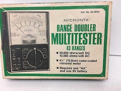 Radio Shack Micronta Range Doubler Multitester Vom Multimeter 22-204b W Leads