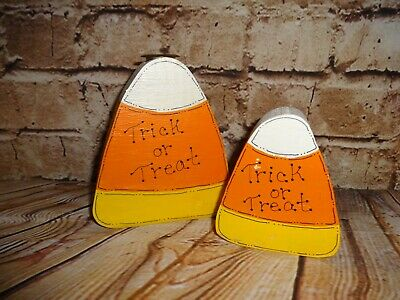 Wooden Wood Candy Corn Cut Out Fall Holiday Halloween Candle Stick Set Holder