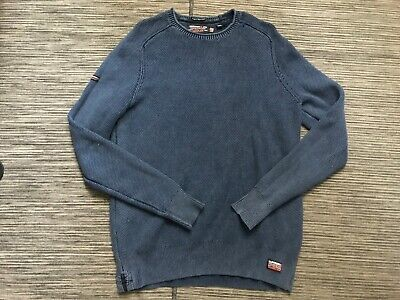Superdry Adult Mens XL Premium Dyed Cotton Knit Sweater Long Sleeve Blue