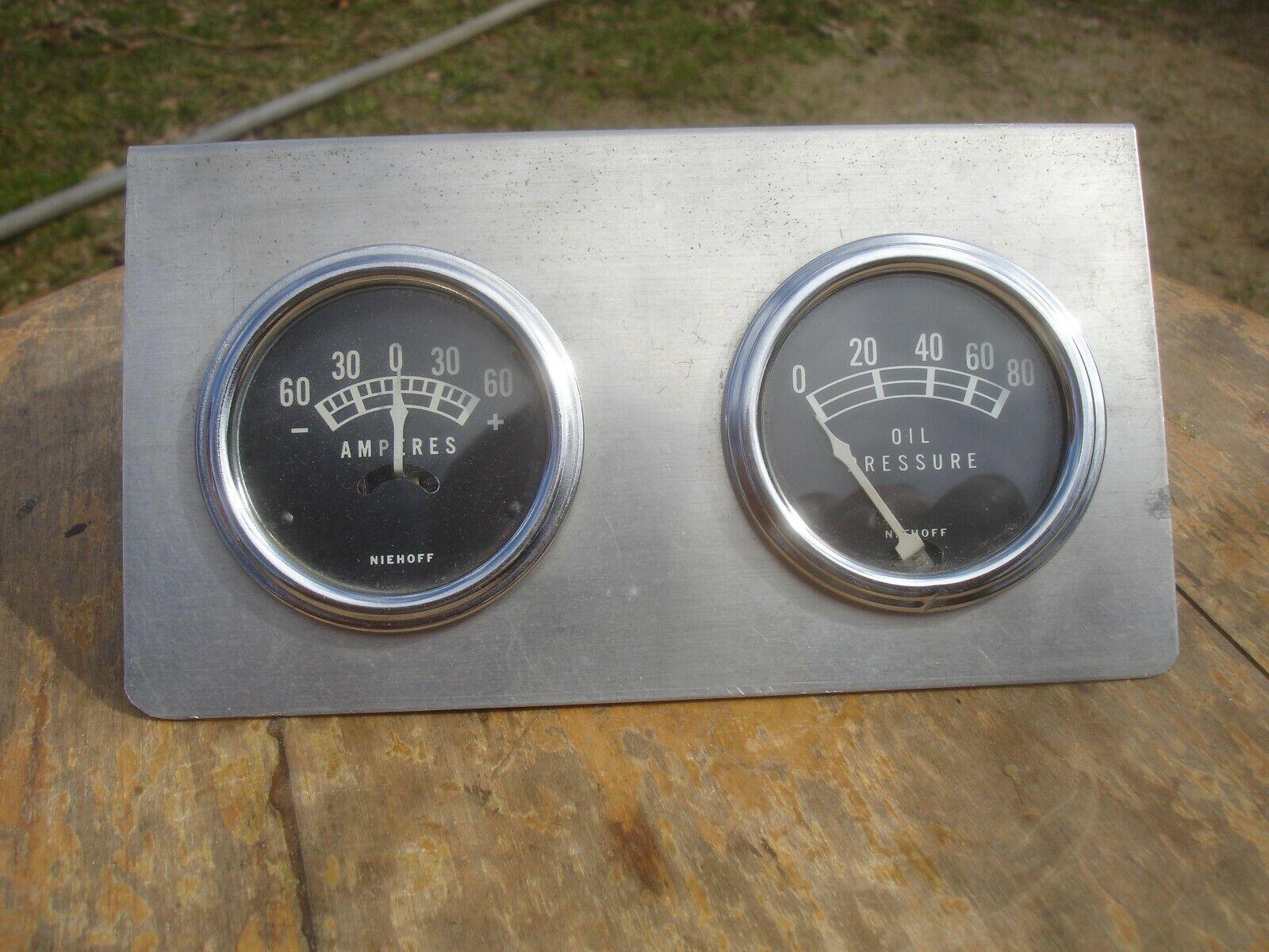 Vintage Niehoff Amp & Oil Pressure Gauges w/ Panel hot rod gasser rat race car