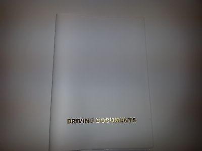 A5 WHITE CAR DOCUMENT HOLDER HOLDER WITH CARD POCKET
