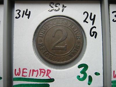 J314  2 Reichspfennig 1924 G in SS+