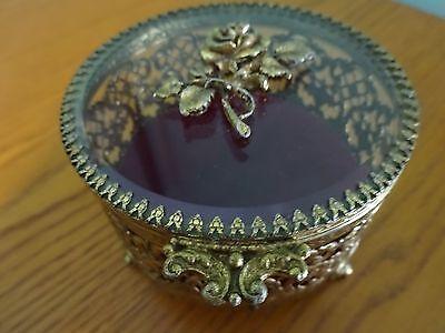 Vintage Small Round Filigree Jewelry / Trinket Box Openwork Beveled Glass Lid