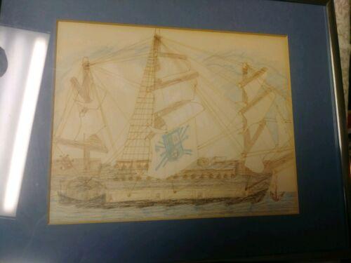 Folk Art Primitive Drawing Of Sailing Ship Vintage Framed Nautical Art Brut  - $33.00