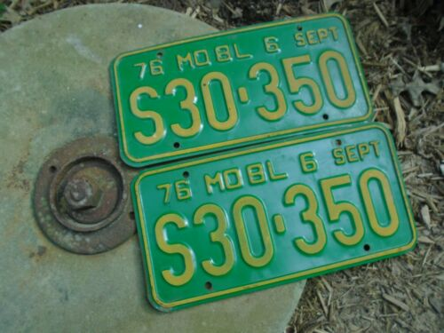 1976 Missouri Truck License Plate Pair ENDS IN 350, # S30-350, Chevrolet engine