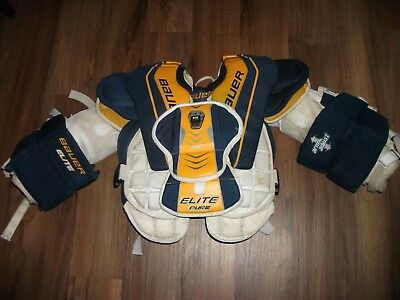 Hockey Body Armor - BAUER ELITE PURE HOCKEY GOALIE BODY ARMOR CHEST & ARM PROTECTOR INTERMEDIATE SM