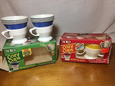 Yellow Solo Cups (2 Vintage  Solo Cozy Cups Starter Sets Plastic Cups Blue And)