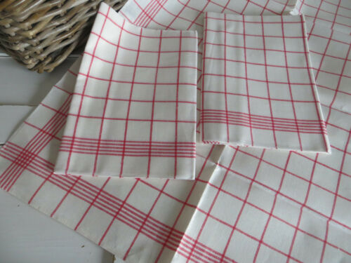 Three  3  Linen Towels  Napkins Red Stripe  22 inch  by30 inch German Unused