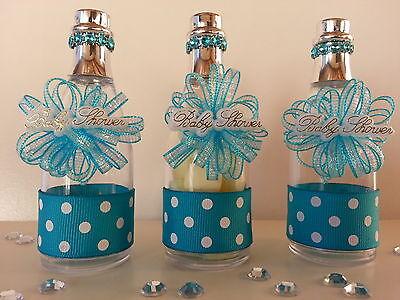 12 Blue Fillable Champagne Bottles Baby Shower Favors Prizes