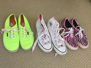Girls US Sz 4 Converse high tops White VANS Yellow plus Pink Stripe Wareemba Canada Bay Area Preview