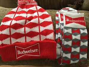 Budweiser beer toque and socks