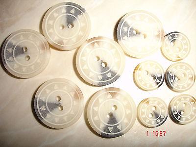 10 Knöpfe natur mit grau, braun Trachtenknopf 2-Loch 12mm  W32.5