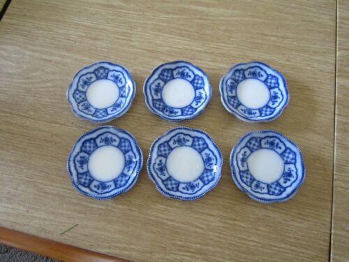 VINTAGE MELBOURNE BLUE AND WHITE BUTTER PATS  SET OF 6