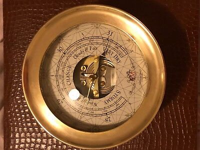"""RARE Antique MAKERS TO THE ADMIRALTY BAROMETER FRANCE BRASS INDIA CASE 7""""x 3 1/4"""