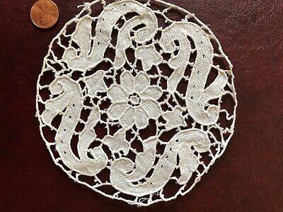 C. 1900 handmade Belgian needle lace flower doily