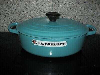 Le Creuset Turquoise/Caribbean Blue 3-1.2 Qt.  Wide Oval  Dutch Oven--#27 NEW - Oval Wide Oven