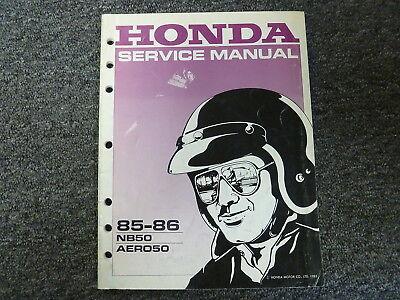 1985 1986 Honda Model NB50 AERO50 Motor Scooter Shop Service Repair Manual Book