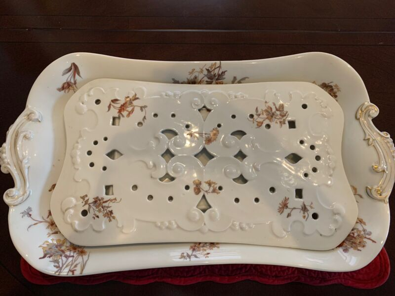ANTIQUE LARGE Ironstone Transferware MEAT PLATTER PIERCED STRAINER 20""