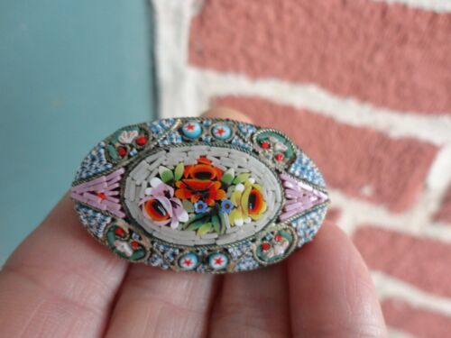 ANTIQUE VICTORIAN MICRO MOSAIC FLORAL PINK YELLOW RED ROSES LARGE PIN OLD ESTATE