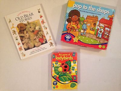 CHILDRENS BOOK AND TWO GAMES COUNTING GAME / SHOPPING GAME / OLD BEAR STORIES