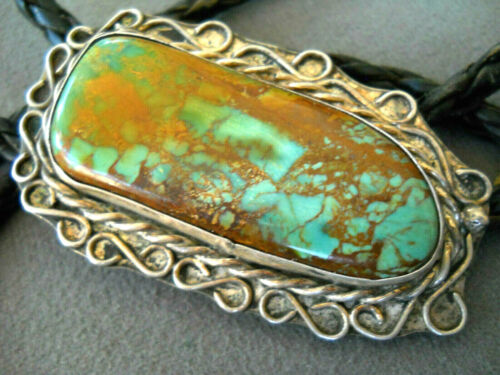 Southwestern Native American Navajo Green Turquoise Sterling Silver Bolo Tie