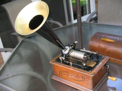 Edison Banner Cylinder Phonograph w/ Orig Horn, Works