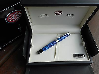 AURORA OPTIMA AUROLOIDE BLUE AND SILVER TRIM FOUNTAIN PEN SALE