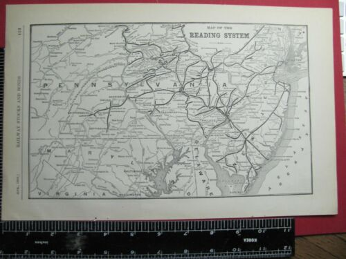 ORIG 1908 READING RAILROAD SYSTEM MAP RR ROUTE in PENNSYLVANIA & NEW JERSEY