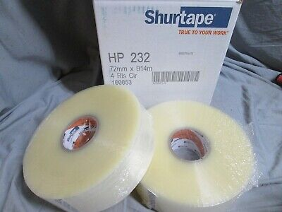 2 Rolls Carton Tape Clear 72mm x 914m SHURTAPE HP 232 Machine Length Packing