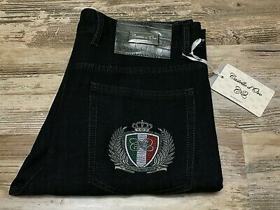 Castello D'Oro Jeans Black Embroidered Leather Lighter Pkt Size 34×33 Gray Accnt (Embroidered Leather Jeans)