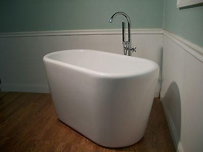 "51"" Japanese Inspired Deep Soaking Bathtub & Faucet free standing"