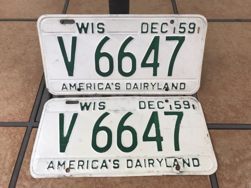 SET 1959 WISCONSIN AUTO CAR LICENSE PLATE TAGS