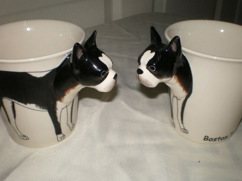 NEW Set of 2 Boston Terrier Dog Puppy Lover Raised 2D Handle Coffee Mugs