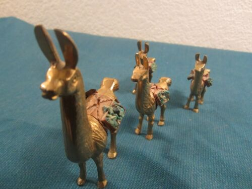 BRASS LLAMA FAMILY MINIATURE FIGURINES