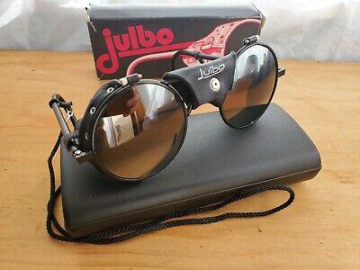 Vintage 1990's Black Julbo Leather Sideshield mountaineers Sunglasses Boxed