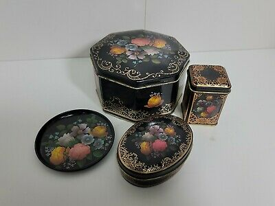 Assorted Vintage English Tin with Lid Black Mixed Floral Gold Trim flowers lot
