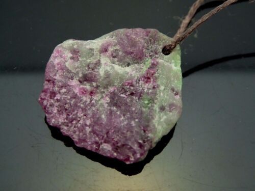 Ruby In Zoisite Red Green Gemstone Druzy Rough Specimen Pendant Necklace Cord