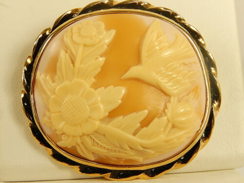 BIRD SUNFLOWER Carved Shell CAMEO PIN Vintage Flower Detailed BROOCH