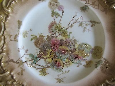 ART NOUVEAU DOULTON BURSLEM FLORAL Antique Blush Gilt CABINET PLATE CA 1891-1901